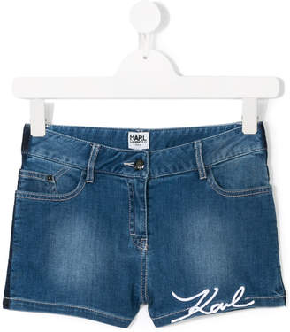 Karl Lagerfeld embroidered denim shorts