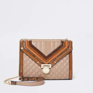 River Island Womens Dark Beige and tan quilted cross body bag