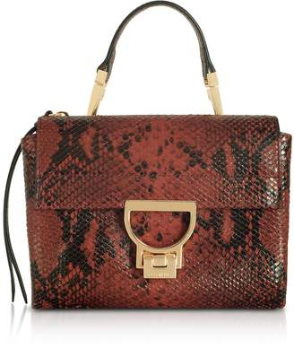 Coccinelle Arlettis Mini Burgundy Reptile Printed Leather Shoulder Bag