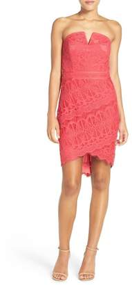 Adelyn Rae Strapless Lace Dress $115 thestylecure.com