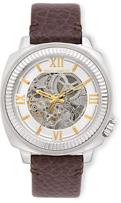 Vince Camuto Exposed Automatic Leather Band Watch