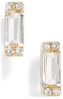 Women's Ef Collection Diamond & Topaz Baguette Stud Earrings $450 thestylecure.com