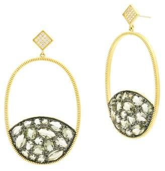 Freida Rothman Rose d'Or 14K Yellow Gold & Black Rhodium Plated Pave CZ Open Oval Drop Earrings