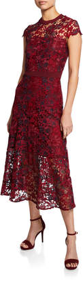Tahari ASL Macy Floral Lace Short-Sleeve A-Line Dress
