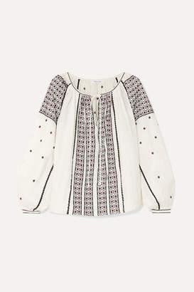 Frame Anita Embroidered Linen Blouse - Cream