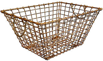 One Kings Lane Vintage French Wire Oyster Basket - Faded Rose Antiques LLC