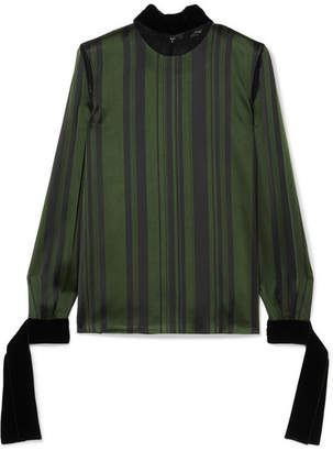 ADEAM - Velvet-trimmed Lace-paneled Striped Satin Blouse - Emerald