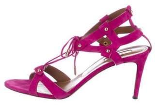 Aquazzura Mid-Heel Suede Sandals Fuchsia Mid-Heel Suede Sandals