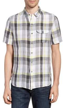 Michael Bastian Slim Fit Plaid Linen Sport Shirt