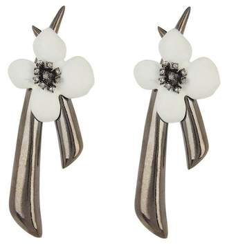 Oscar de la Renta Painted Grapefruit Flower Drop Clip On Earrings