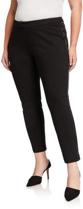Calvin Klein Plus Size Faux-Leather Side-Tape Pants