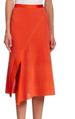 Victoria Beckham Solid Cotton-Blend Skirt