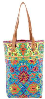 Roberta Roller Rabbit Leather-Trimmed Printed Canvas Tote