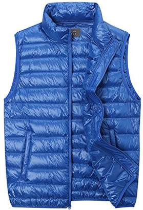 The Plus Project Men's Plus Size Quilted Down Vest with Stand Collar 2X-Large