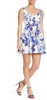 Jump Floral Print Crepe Short Dress