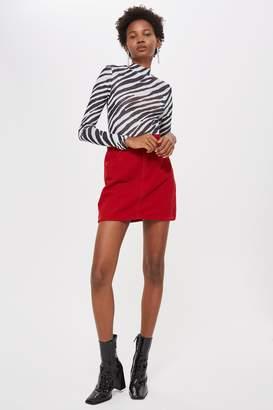 Topshop PETITE Red Corduroy Denim Skirt