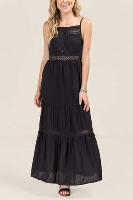 francesca's Frida Ladder Lace Maxi Dress - Black