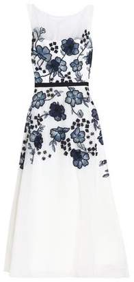 Lela Rose Fluted Embellished Organza Midi Dress
