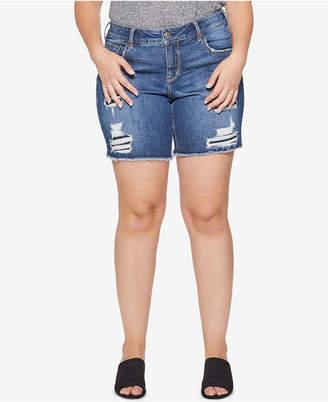 Silver Jeans Co. Plus Size Sam Distressed Bermuda Shorts