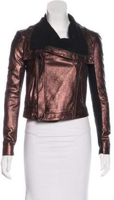 Veda Metallic Leather Jacket