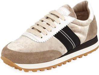 Brunello Cucinelli Shiny Velvet Runner Sneaker