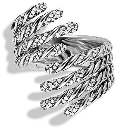 David Yurman Willow Open Four-Row Ring with Diamonds