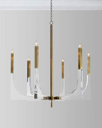 John-Richard Collection Acrylic Brass Finish Chandelier, 6 Lights