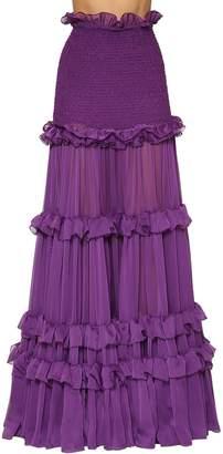 Ruffle Smock Stitch Chiffon Maxi Skirt
