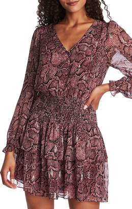 1 STATE 1.STATE Smocked Waist Snakeskin Print Dress