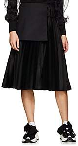 Noir Kei Ninomiya Women's Wool-Apron Satin A-Line Skirt-Black