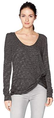 Michael Stars Women's Space Dye Long Sleeve Soft V-Neck Knot Top