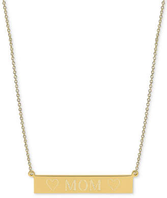 "Sarah Chloe Engraved Mom Bar Necklace in 14k Gold-over Silver, 16"" + 2"" extender (also available in Sterling Silver)"
