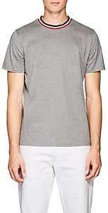 Moncler Men's Herringbone-Trimmed Cotton T-Shirt - Gray