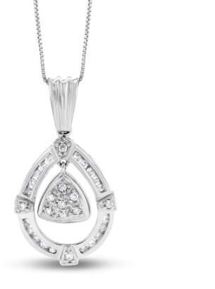 14k White Gold 0.40 Ct. Natural Diamond Fashion Pear Tear Drop Pendant