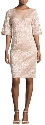Rickie Freeman For Teri Jon Short-Sleeve Floral Lace Cocktail Dress, Blush