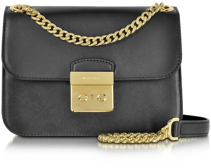 Michael Kors Sloan Editor Medium Black Leather Chain Shoulder Bag