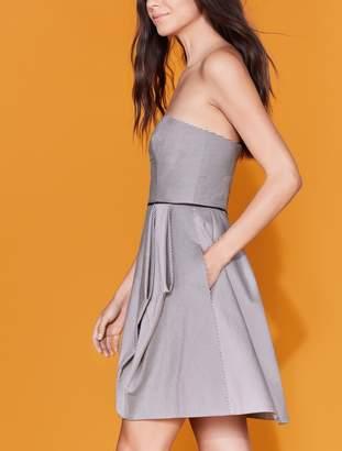 Halston Striped Folded Drape Dress