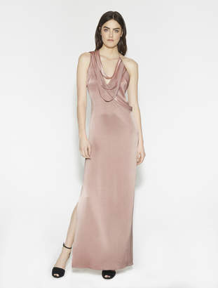 Halston Multi Strips Satin Gown