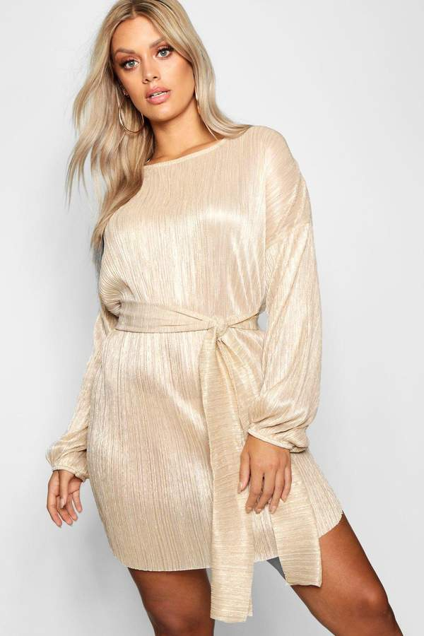 boohoo Plus Metallic Tie Waist Shift Dress