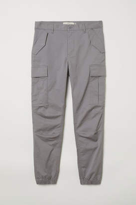 H&M Cotton Twill Cargo Joggers - Gray