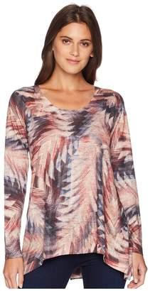 Nally & Millie Arrow Print Long Sleeve Tunic Women's Blouse