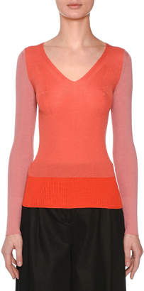 Missoni V-Neck Long-Sleeve Colorblocked Sweater