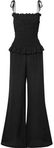 Smocked Silk Crepe De Chine Jumpsuit - Black