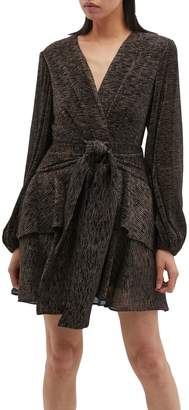 C/Meo Collective 'Like Gold' glitter layered tie front dress
