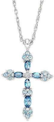 Silver Cross FINE JEWELRY Genuine Blue Topaz Sterling Pendant Necklace
