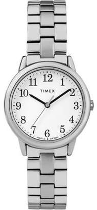 Timex Women's Easy Reader Small Silver-Tone/White Watch, Stainless Steel Expansion Band