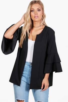 boohoo Plus Anna Ruffle Sleeve Blazer