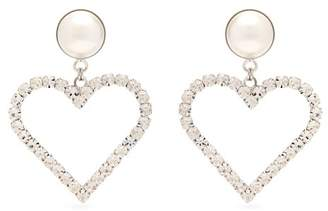 Alessandra Rich - Crystal Embellished Heart Charm Earrings - Womens - Crystal