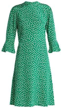 Hvn - Ashley Floral Print Silk Dress - Womens - Green Print