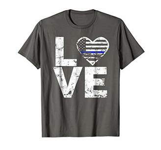 Love Police Thin Blue Line Police Support Distressed T Shirt